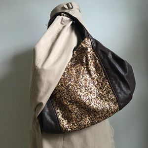 BANANA REPUBLIC BROWN LEATHER AND SEQUIN PURSE